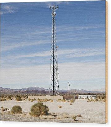 Cellular Phone Tower In Desert Wood Print by Paul Edmondson