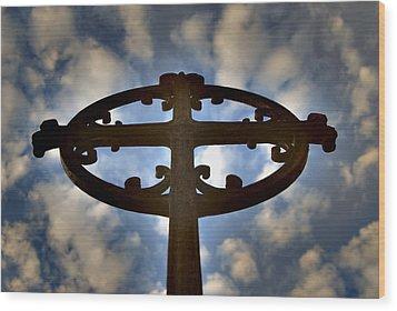 Celtic Cross Wood Print by Phil Bongiorno