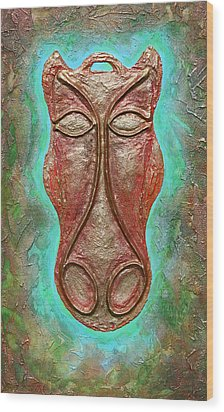 Celtic Horse Head Mask Wood Print by Zoran Peshich