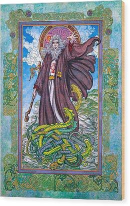 Celtic Irish Christian Art - St. Patrick Wood Print by Jim FitzPatrick