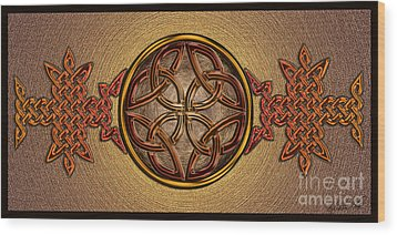 Wood Print featuring the mixed media Celtic Knotwork Enamel by Kristen Fox