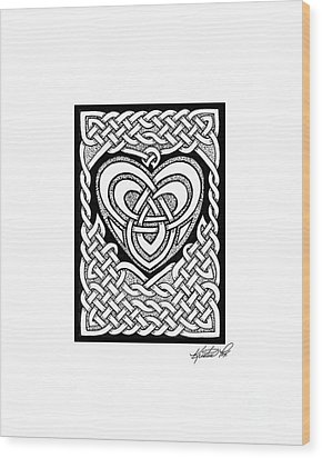 Celtic Knotwork Heart Wood Print by Kristen Fox
