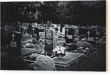 Cemetary At Night Wood Print by Ellen Heaverlo