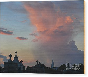 Wood Print featuring the photograph Cemetery Skies by Jeanne  Woods