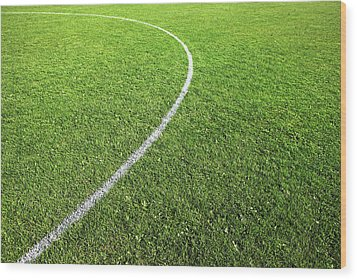 Center Circle On Football Pitch Wood Print by Richard Newstead