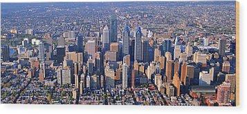 Wood Print featuring the photograph Center City Aerial Photograph Skyline Philadelphia Pennsylvania 19103 by Duncan Pearson