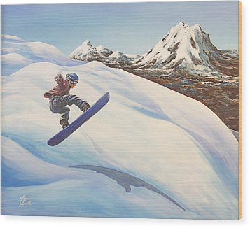 Central Oregon Snowboarding Wood Print by Janice Smith