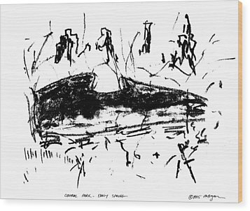 Wood Print featuring the drawing Central Park Early Spring by Patrick Morgan