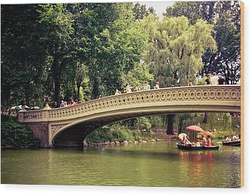 Central Park Romance - Bow Bridge - New York City Wood Print by Vivienne Gucwa