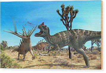 Ceratosaurus And Dacentrurus, Artwork Wood Print by Jose Antonio PeÑas