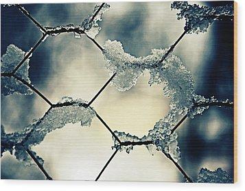 Chainlink Fence Wood Print by Joana Kruse
