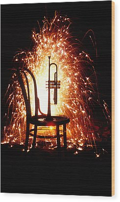 Chair And Horn With Fireworks Wood Print by Garry Gay