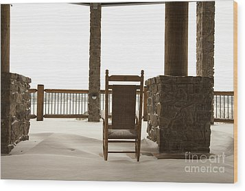 Chair On A Snowy Balcony Wood Print by Will and Deni McIntyre