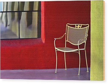 Chair On The Balcony Wood Print by Carol Leigh