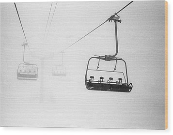 Chairlift In The Fog Wood Print by Brian Caissie