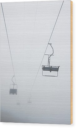 Chairlift In The Fog Wood Print by Matthias Hauser