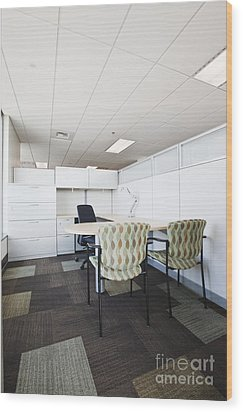 Chairs And Desk In Office Cubicle Wood Print by Jetta Productions, Inc