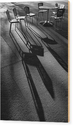 Chairs And Shadows Wood Print by Steven Ainsworth