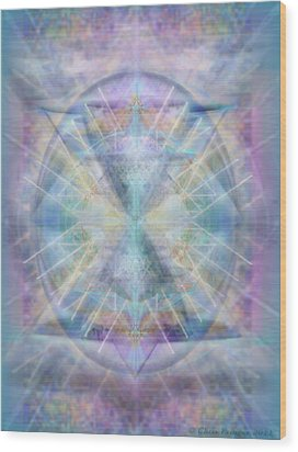 Wood Print featuring the digital art Chalice Of Vorticspheres Of Color Shining Forth Over Tapestry by Christopher Pringer