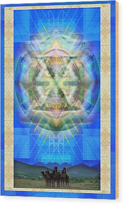 Wood Print featuring the digital art Chalice Star Over Three Kings Holiday Card Xabrti by Christopher Pringer