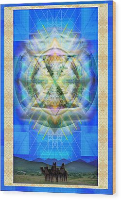Wood Print featuring the digital art Chalice Star Over Three Kings Holiday Card Xbbrtii by Christopher Pringer