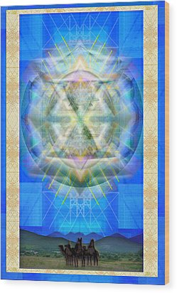 Wood Print featuring the digital art Chalice Star Over Three Kings Holiday Card Xci by Christopher Pringer