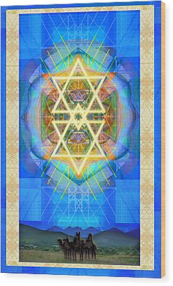 Wood Print featuring the digital art Chalice Synthesis Star Over Three Kings Holiday Card  Vi Lt by Christopher Pringer
