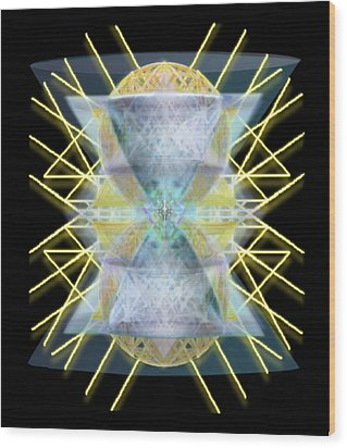 Wood Print featuring the digital art Chalices From Pi Sphere Goldenray II by Christopher Pringer