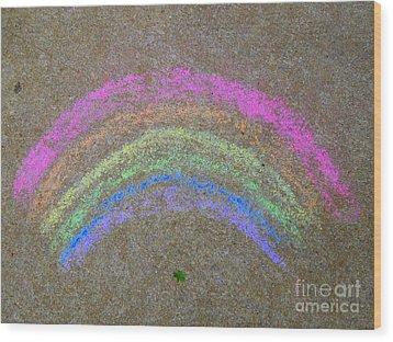 Wood Print featuring the photograph Chalk Rainbow On Sidewalk by Renee Trenholm
