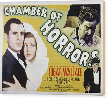 Chamber Of Horrors Aka Door With Seven Wood Print by Everett