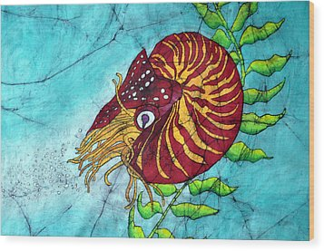 Chambered Nautilus Wood Print by Shari Carlson