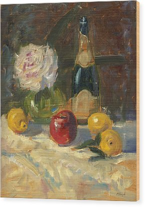 Wood Print featuring the painting Champagne And Roses by Marlyn Boyd