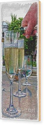 Champagne At The Beach Wood Print by Joan  Minchak