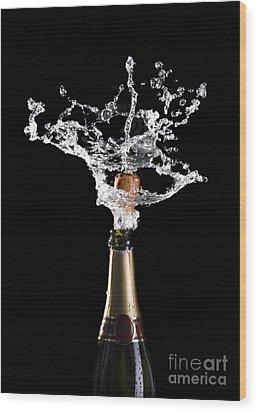 Champagne Cork Explosion Wood Print by Gualtiero Boffi