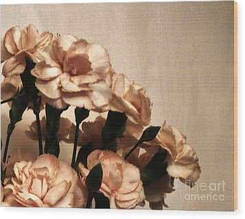 Champaign And Flowers Wood Print by Marsha Heiken