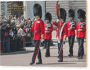 Changing Of The Guard At Buckingham Palace Wood Print by Andrew  Michael