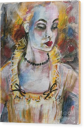 Chantalle And Her Sheer Blouse Wood Print by Ginette Callaway