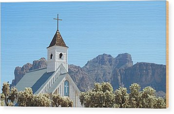 Wood Print featuring the photograph Chapel In Superstitions by Penny Meyers