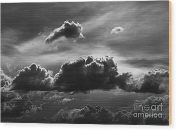Charcoal Clouds Wood Print