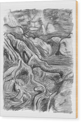 Charcoal Drawing Of Gnarled Pine Tree Roots In Swampy Area Wood Print by Adam Long
