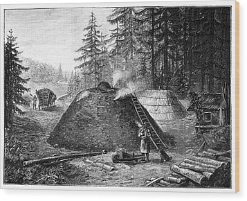 Charcoal Production, 19th Century Wood Print by