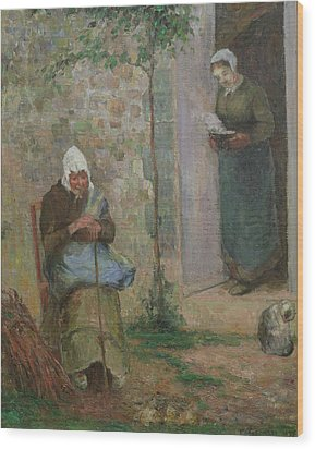 Charity Wood Print by Camille Pissarro