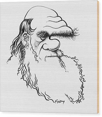 Charles Darwin, Caricature Wood Print by Gary Brown