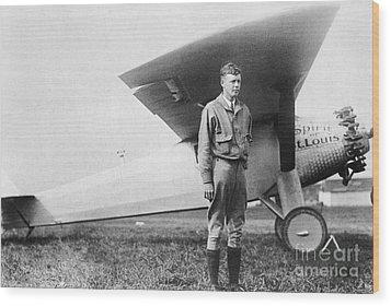 Charles Lindbergh American Aviator Wood Print by Photo Researchers
