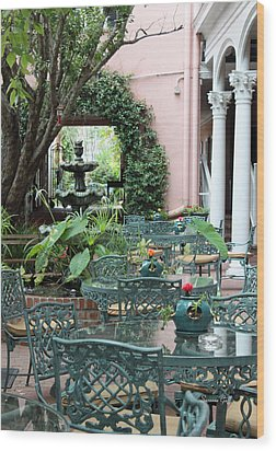 Charleston Dining Wood Print by Suzanne Gaff