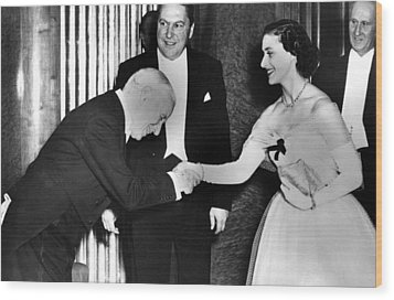 Charlie Chaplin Meeting Princess Wood Print by Everett