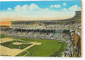 Charlie Comiskey Overlooking His Park In Chicago 1920 Wood Print by Dwight Goss
