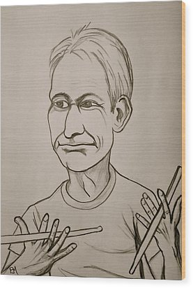 Charlie Watts Wood Print by Pete Maier