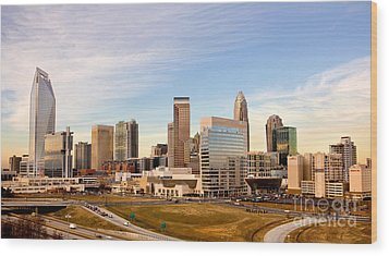 Charlotte Skyline At Daylight Wood Print by Patrick Schneider