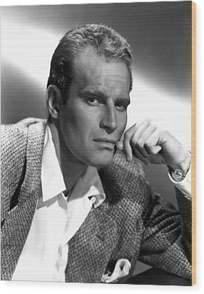 Charlton Heston, 1950s Wood Print by Everett